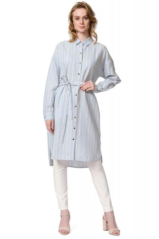 فستان من الكتان المخطط (أَزْرَق)
