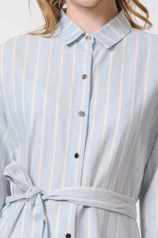 Striped Linen Look Dress (Blue)