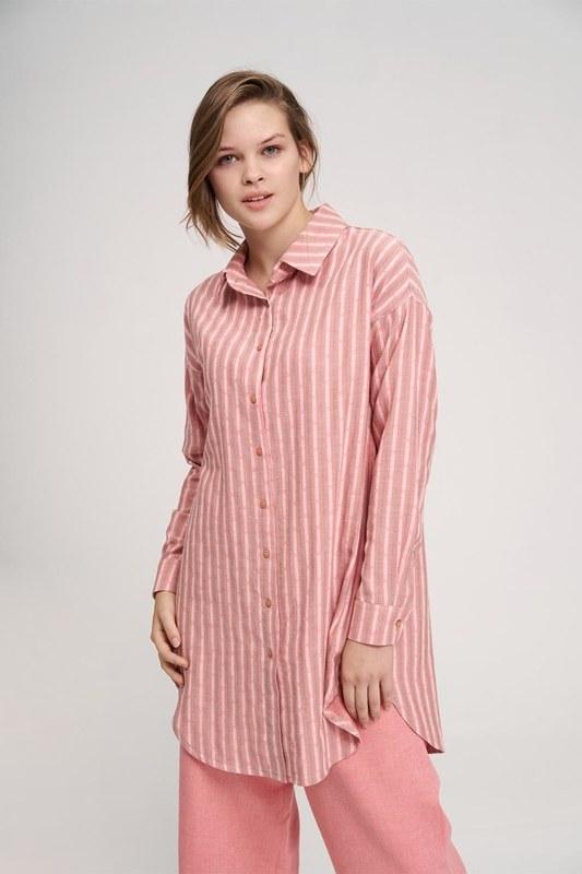Striped Cotton Tunic Shirt (Rose)