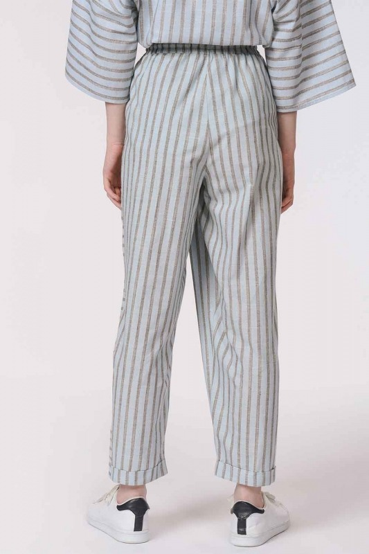 Striped Piece Trousers (Light Blue)