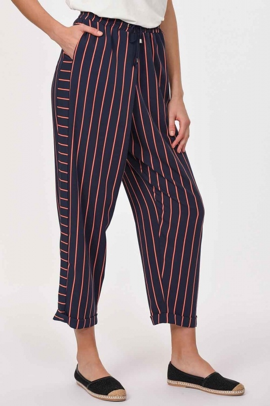 Striped Piece Trousers (Navy Blue)