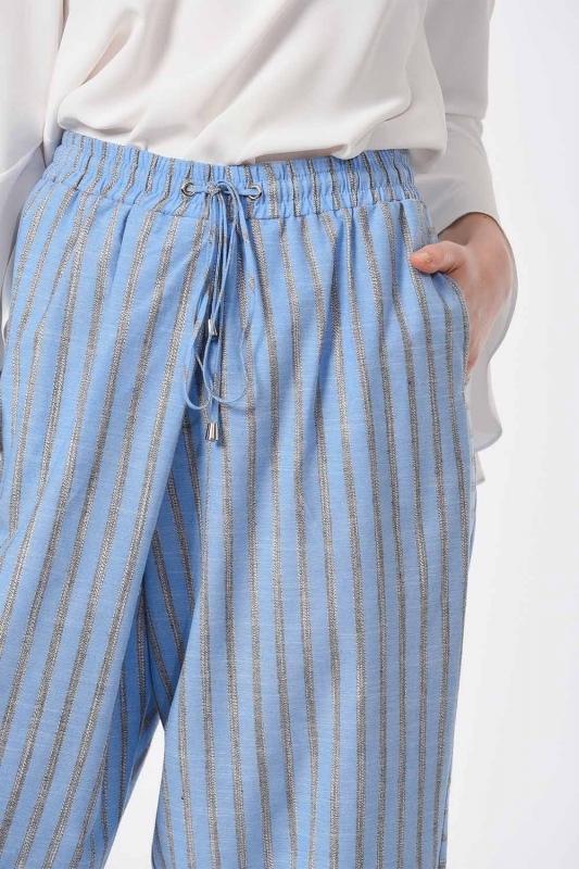 سروال مقلم مع التفاصيل (الأزرق)