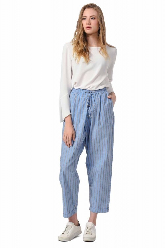 Çizgili Parça Detaylı Pantolon (Mavi)