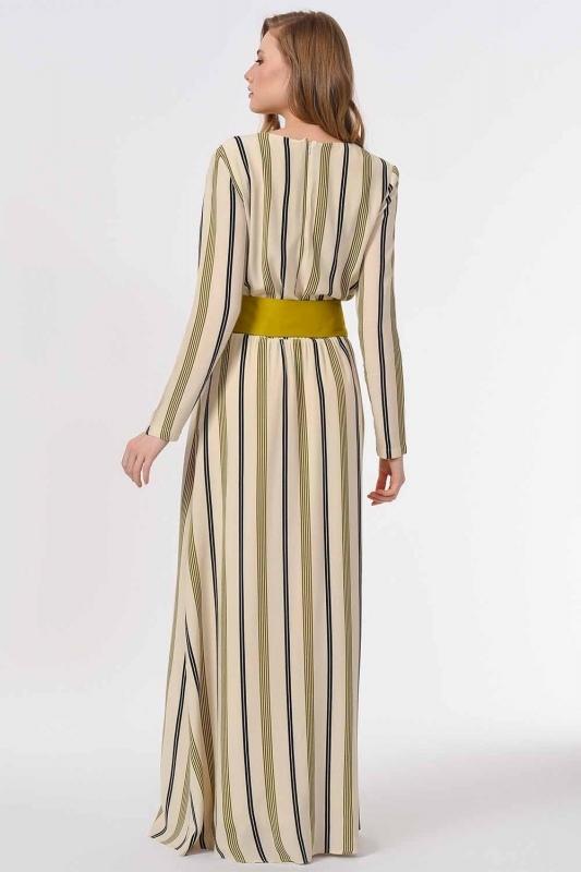 Striped Piece Long Dress (Ecru/Green)