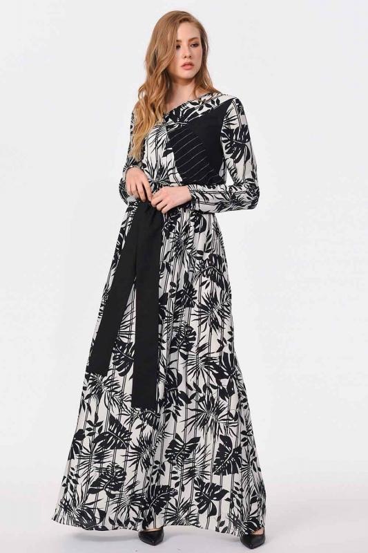 Çizgili Parça Garnili Uzun Elbise (Siyah/Beyaz)