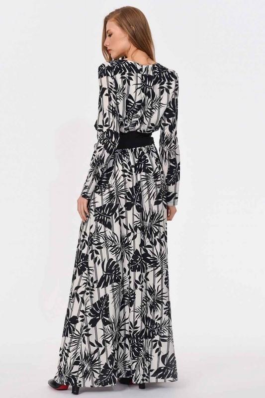 Striped Piece Long Dress (Black/White)