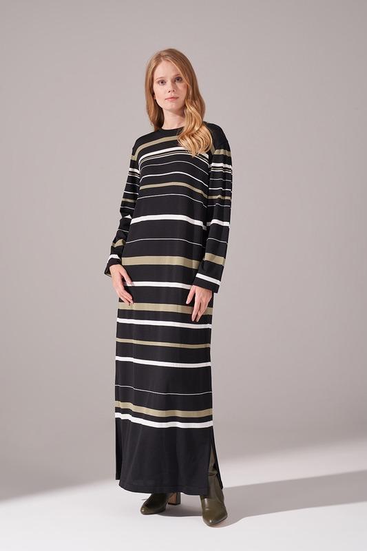 Çizgili Rayon Triko Elbise (Haki)