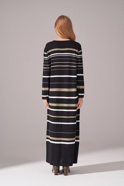 Çizgili Rayon Triko Elbise (Haki) - Thumbnail