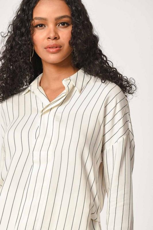 Çizgili Yakalı Gömlek Bluz (Ekru)