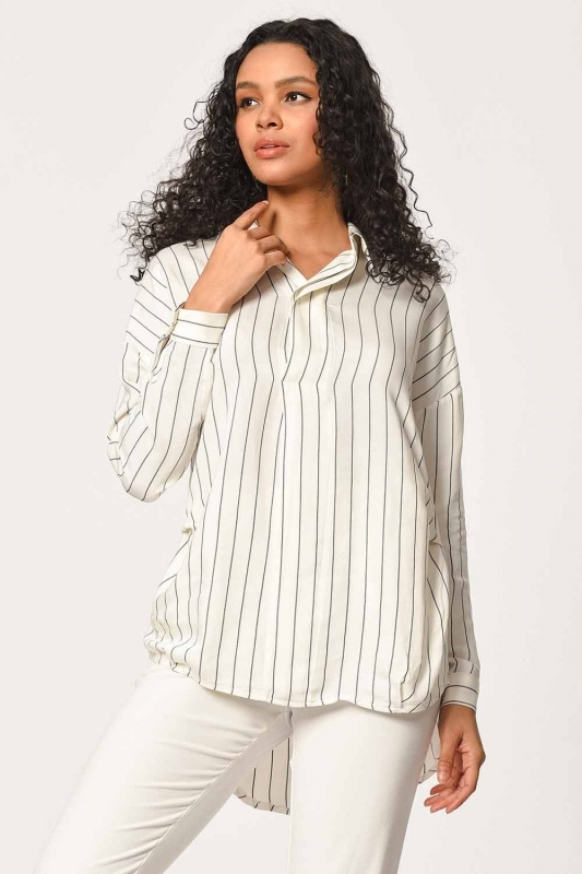 Striped Shirt Blouse (Ecru)