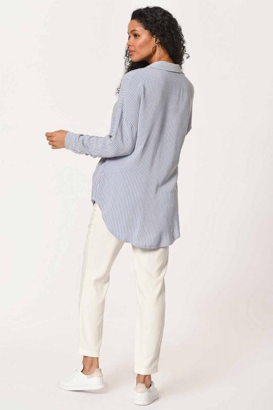 بلوزة قميص مقلم مع طوق(أَزْرَق)
