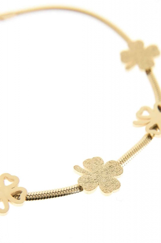Clover Detailed Steel Bracelet (Yelow)