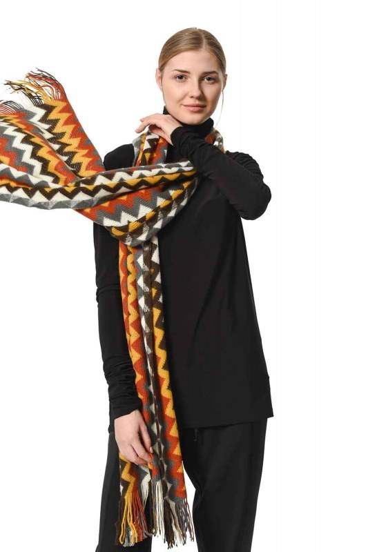 Multi Color Zigzag Patterned Shawl (Multi)