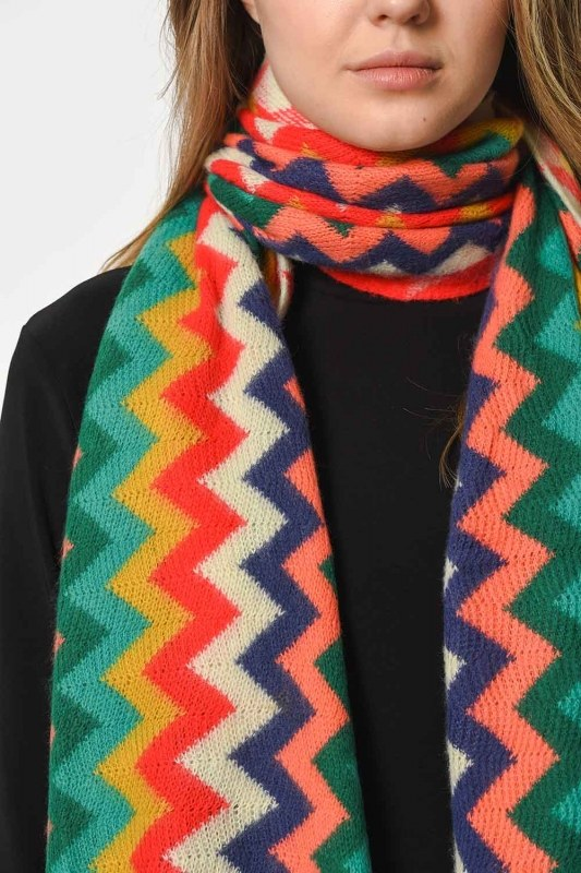 Multi Color Zigzag Patterned Shawl (Mix)