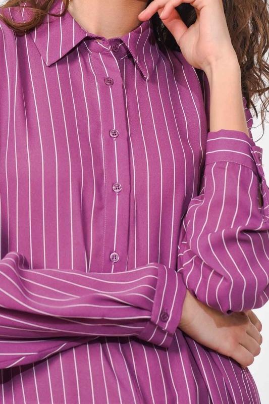 قميص تونك طويل مخطط (أَرْجُوَانِيّ)