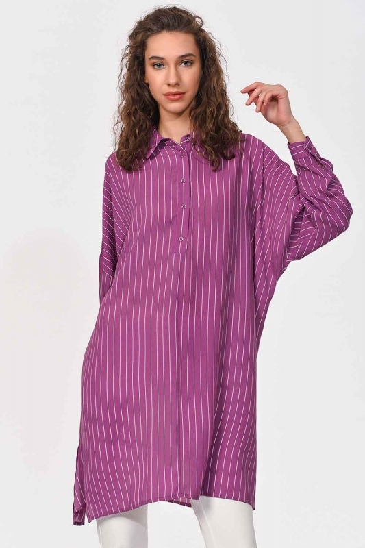 Comfy Long Tunic Shirt (Purple)