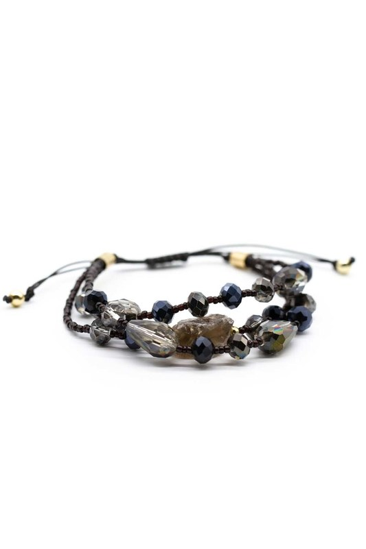 Crystal Beaded Natural Stone Bracelet (Black)