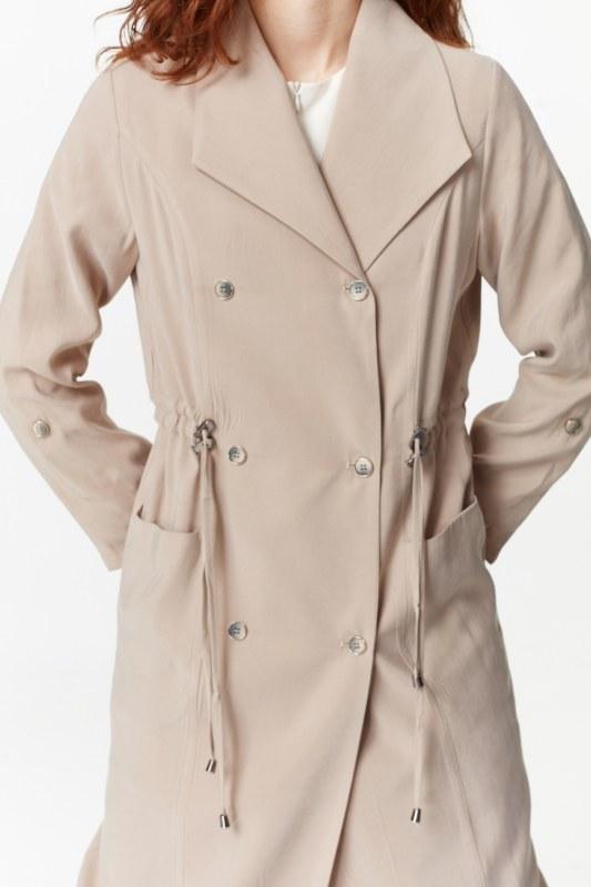 معطف الخندق الفاخرة مصنوعة من لايوسيل (البيج)