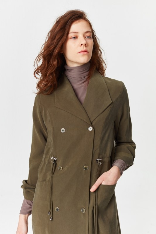 معطف الخندق الفاخرة مصنوعة من لايوسيل (تُرَابِـيّ)