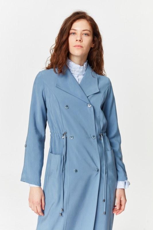 معطف الخندق الفاخرة مصنوعة من لايوسيل (اللون النيلي)