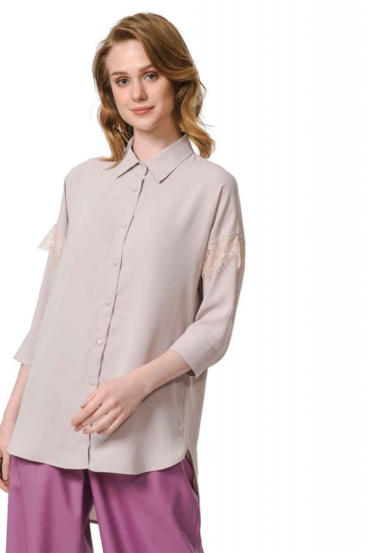 Lace Detailed Shirt Blouse (Beige)