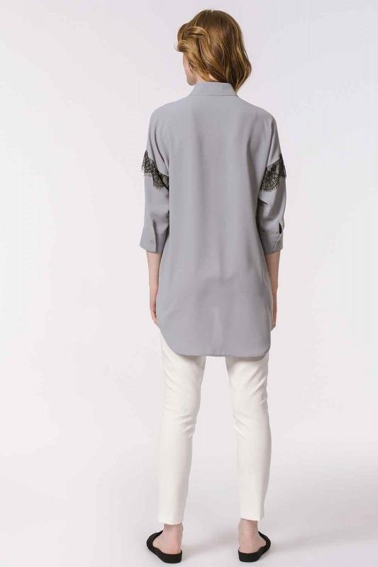 Dantel Detaylı Gömlek Bluz (Gri)