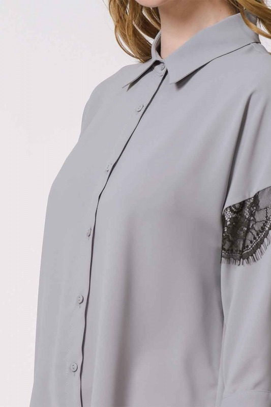 Lace Detailed Shirt Blouse (Grey)