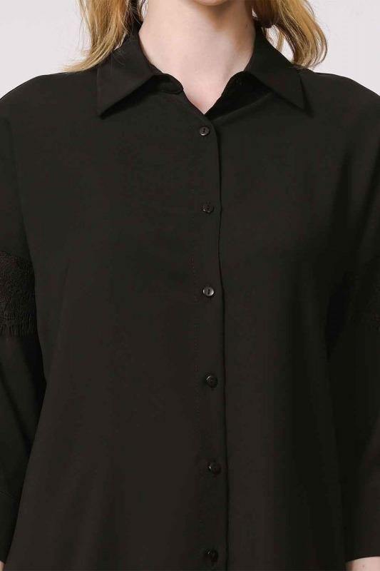 Dantel Detaylı Gömlek Bluz (Siyah)