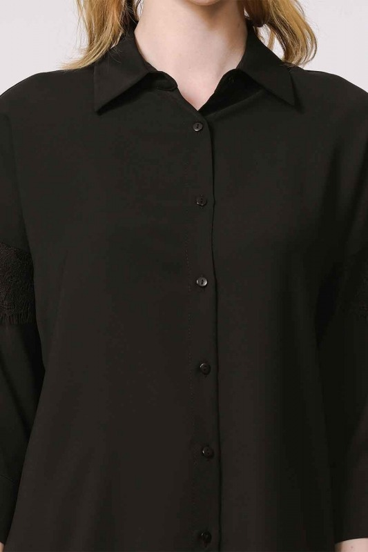 Lace Detailed Shirt Blouse (Black)