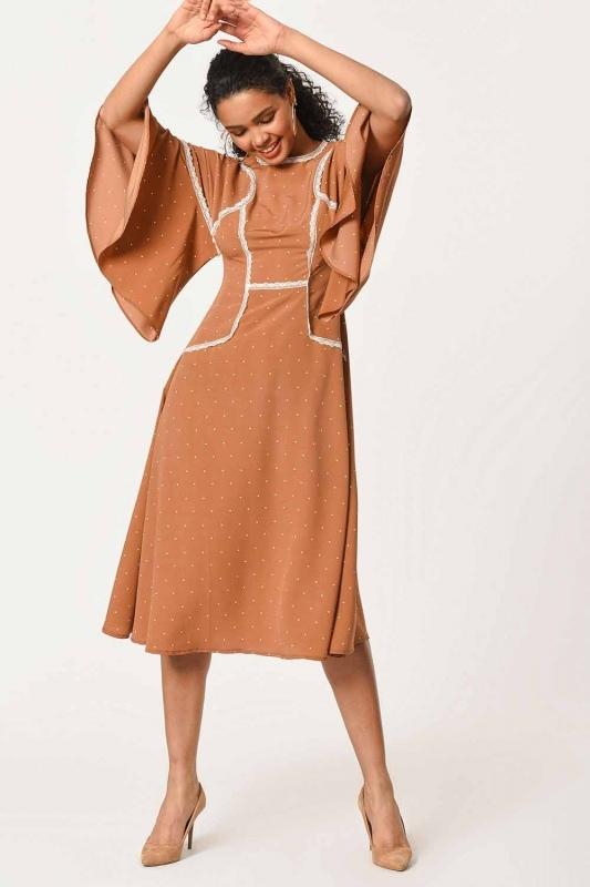 Dantel Garnili Puantiye Elbise (Sütlü Kahve)