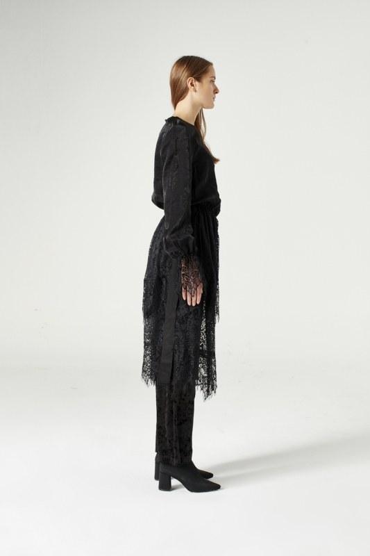 Dantel Garnili Elbise (Siyah)