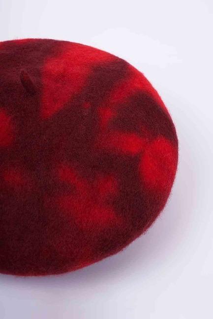 Degradeli Yün Ressam Bere (Kırmızı) - Thumbnail