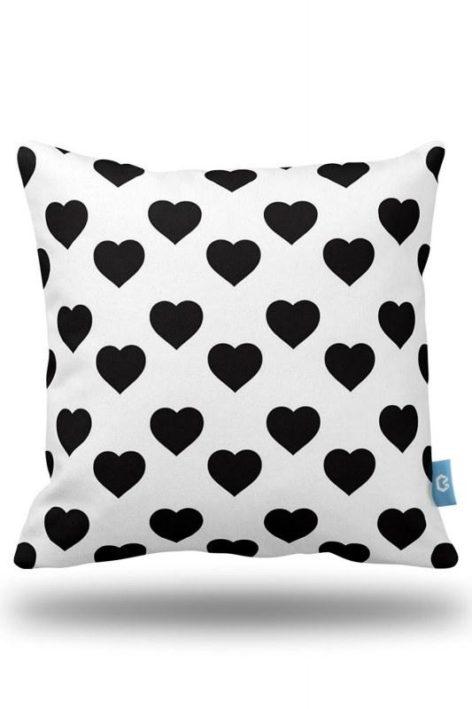 Kalp Desenli Dekoratif Yastık Kılıfı (43X43)