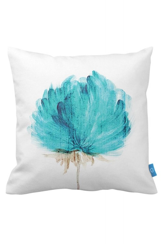 Decorative Pillow Case With Turquoise Flowers (43X43)
