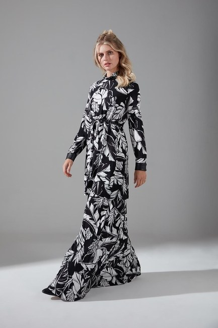 Deri Detaylı Desenli Elbise - Thumbnail