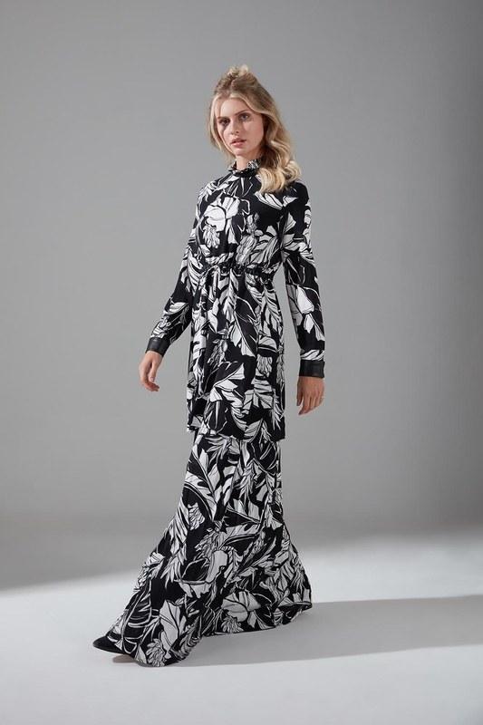 Deri Detaylı Desenli Elbise