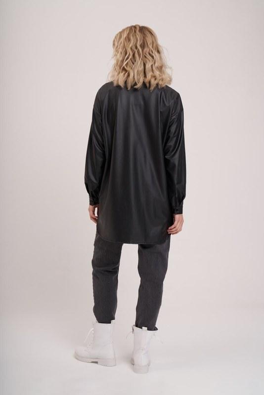 Deri Görünümlü Tunik Gömlek (Siyah)