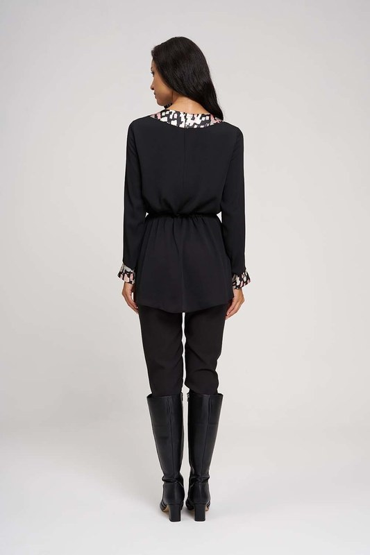 Desen Garnili Kimono Tunik (Siyah)