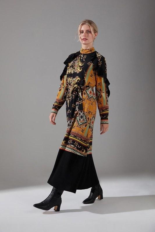 Desen Parçalı Fırfırlı Elbise