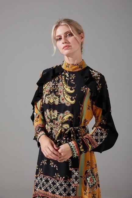 Desen Parçalı Fırfırlı Elbise - Thumbnail