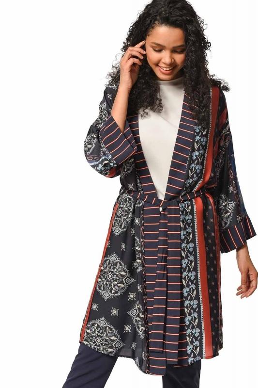 Desenli Çizgi Garnili Kimono (Mix)