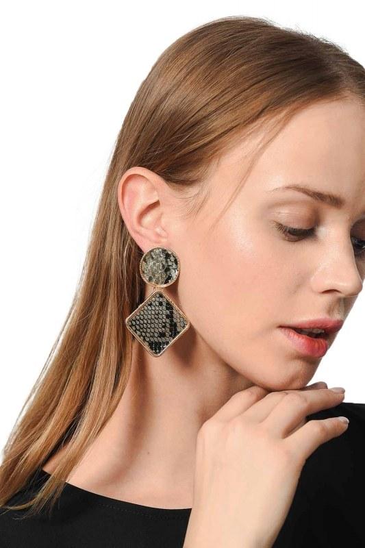 Patterned Square Earrings (Beige)