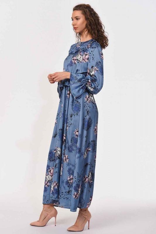Patterned Maxi Satin Dress (Blue)