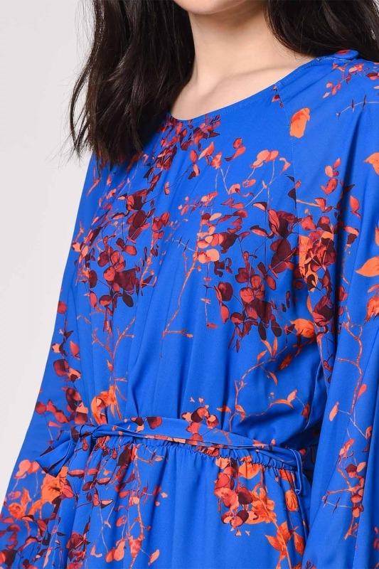 Desenli Omuz Düğmeli Elbise (Saks)