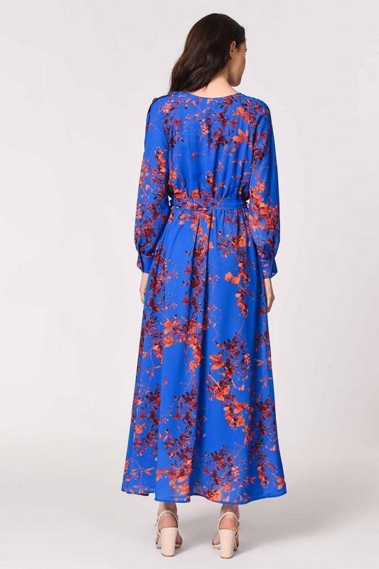Shoulder Button Patterned Dress (Sax)