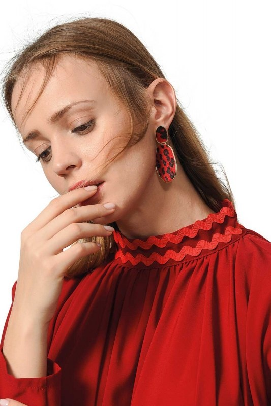 Patterned Oval Earrings (Red)