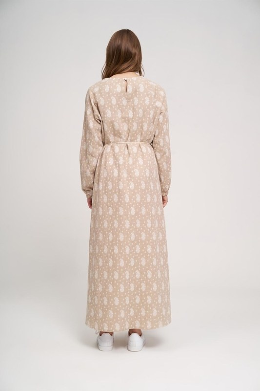 Desenli Pamuk Elbise (Bej)
