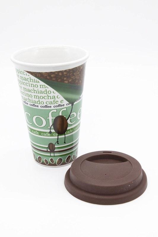 Desenli Porselen Kupa (Yeşil)