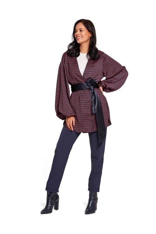 Desenli Saten Kimono (Lacivert)