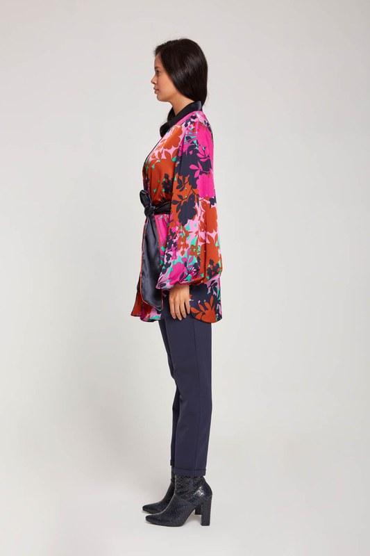 Desenli Saten Kimono (Mor)